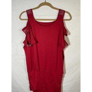 short open sleeve shirt 3 straps on arms red stret